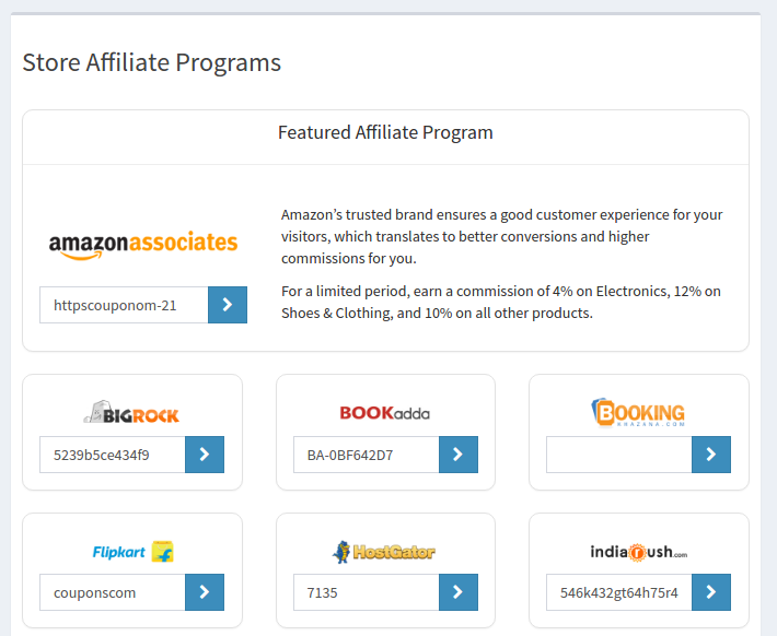 Featured Placement between Affiliate Programs